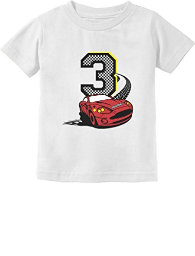 3rd Birthday 3 Year Old Boy Race Car Party Toddler Kids T-Shirt 2T White ()