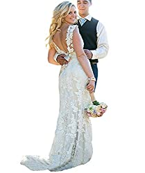 Cdress V Neck Lace Wedding Dresses Beads Crystal Backless Bridal Gowns With Sashes White Us 24w