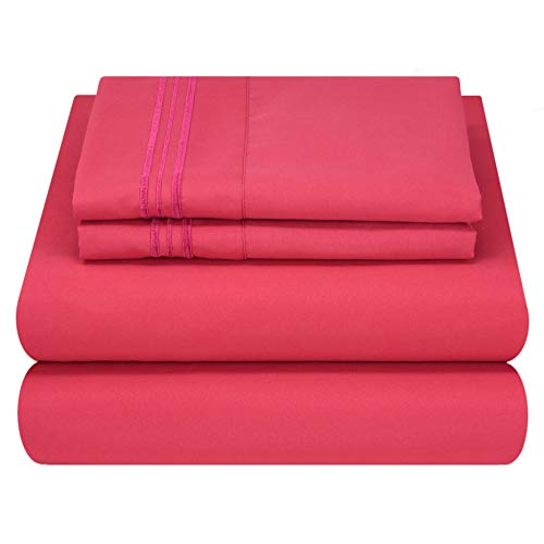 Mezzati Luxury Bed Sheet Set - Soft and Comfortable 1800 Prestige Collection - Brushed Microfiber Bedding (Hot Pink, Twin Size) ()