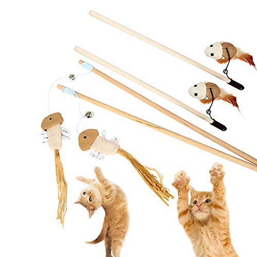 NOBGP 4 Pack Cat Kitten Teaser Wand Toys Natural Sisal with Mouse Bell Feather Elastic String Sturdy Wood Rod Interactive Training Fun Cat Catcher Mice for Pets