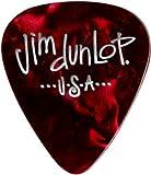 Dunlop 483R09MD Genuine Celluloid, Red Pearloid, Medium, 72/Bag