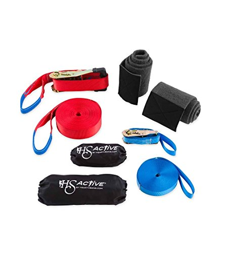 50 ft Slackline Kit with Training Line, Includes Protective Tree Pads and Carrying Bag, 800 LB Max Weight (Tightrope Toy)