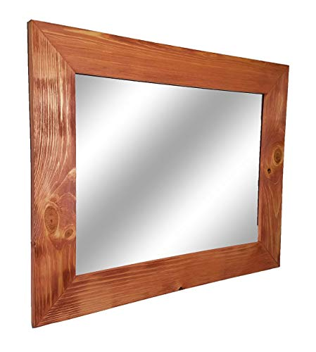 Shiplap Large Wood Framed Mirror Available in 4 Sizes and 20 Colors: Shown in Colonial Maple Stain - Large Wall Mirror - Rustic Barnwood Style - Reclaimed Wood Mirror - 24x30-30x36-30x42-30x60