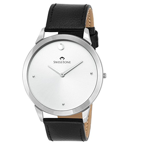 Swisstone SLIM110-SILVER Ultra Slim Black leather strap analog wrist watch for Men/Boys