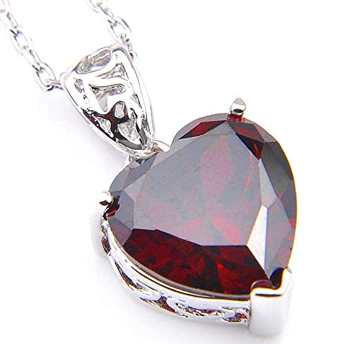 (Genuine Natural Heart Fire Red Garnet Gemstone Platinum Plated Necklace Pendant)