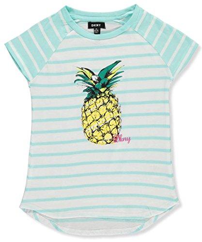 DKNY Big Girls' Short Sleeve T-Shirt, Stripe Glitter Blue Tint, - Brand Clothing Tint