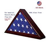 Manfei Solid Beech Wood Flag Display Case for 5''X 9.5'' Burial/Funeral/Veteran Memorial Cherry