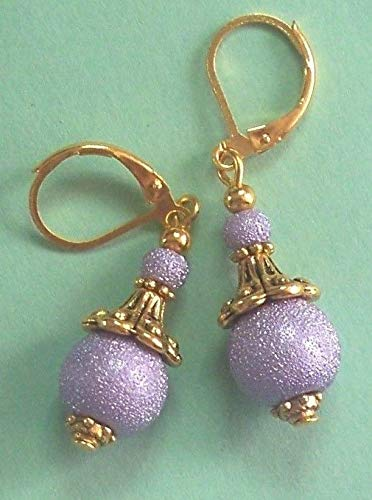 Lavender Textured Acrylic Pearls Crystal Earring Gp Lever Back Artisan Earrings For Women ()