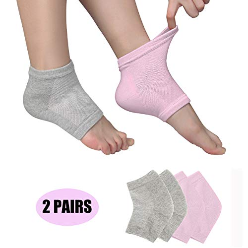 - Dpowro 2 Pairs Moisturizing Gel Heel Socks for Dry Hard Cracked Skin Open Toe Comfy Recovery Socks Day Night Care Sets