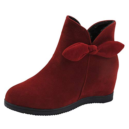 Realdo Womens Ankle Booties Clearance Sale, Women Warm Solid Flock Zipper Bowknot Martin Boots(US 6.5,Red)