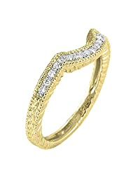 0.20 Carat (ctw) 14K Gold Round Cut Diamond Ladies Anniversary Band Matching Stackable Guard Ring 1/5 CT