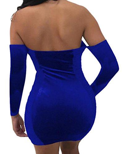 Cruiize Sexy Des Femmes De Velours Couleur Unie Manches Longues Lacer Mini Robe Bleu Royal