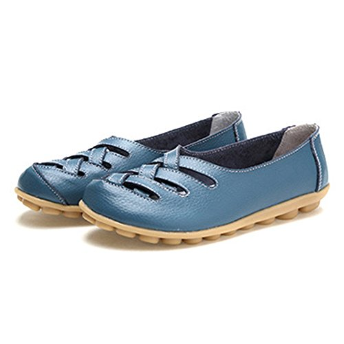 Light Loafers Casual On Slip JULY Anti Perforated Blue Driving T Moccasin Flat Shoes Slip Womens FvEqFxO