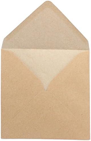 50 Kraftpapierumschläge - quadratisch - 155x155mm - Briefumschläge aus Kraftpapier - Retro - Vintage - nassklebende Kuverts für Einladungskarten, Grußkarten, etc.