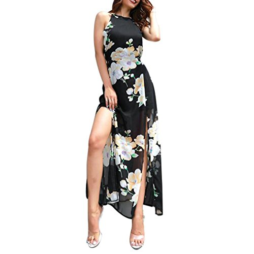 07489b888e2e Damen Lang Kleid Sommer Elegant Ärmellos Neckholder Blumen Rückenfrei  Chiffon Maxi Dress mit Schnürung Rot Sommerkleider