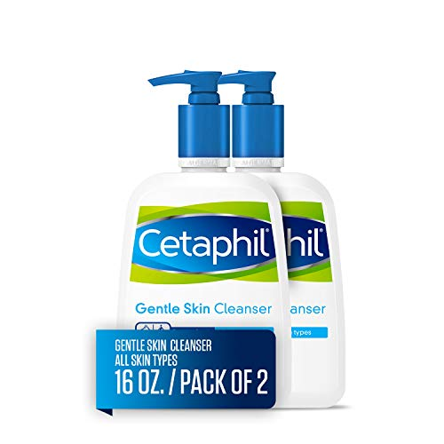 Hydrating Fluid Oil Free - Cetaphil Gentle Skin Cleanser for All Skin Types, Face Wash for Sensitive Skin, 16-oz. Bottles (Pack of 2)