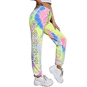 DIDK Women's Drawstring Waist Tie Dye Random Print Sweatpants with Pockets