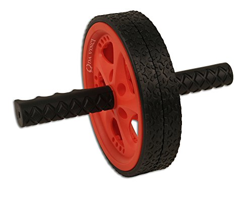 Da Vinci Dual Wheel Ab Roller, Red - Best Abdominal Rollout Exercise Equipment with Anti Slip Foam Grips & Double Wheels