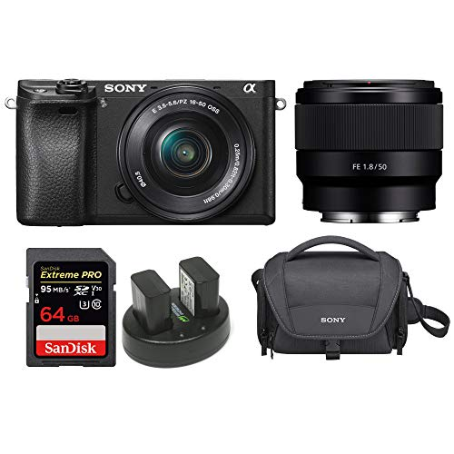 Sony Alpha a6300 Mirrorless Digital Camera w/ SELP1650 16 50mm  amp; SEL50F18 50mm F1.8 Lens Bundle