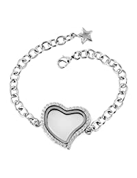 Heart Love Floating Charm Locket Chain Clear Crystal Silver Plated Glass Magnetic Bracelet For Girl Women