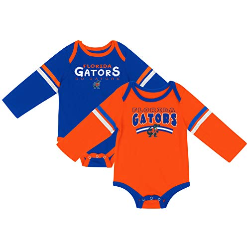 Colosseum NCAA Long Sleeve Bodysuit 2-Pack-Newborn and Infant Sizes-Florida Gators-0-3