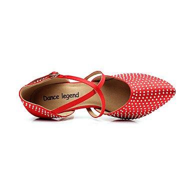 XIAMUO Frauen Satin obere Schnalle Latin Ballroom Dance Schuhe Sandalen (weitere Farben) (eine Nummer größer wählen), Rot, Us7.5/EU38/UK5.5/CN 38