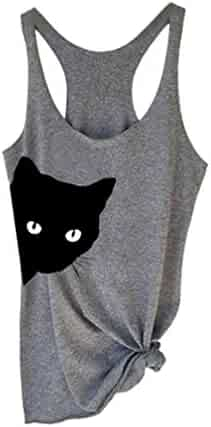 f3111962aa8d19 vermers Clearance Sale Fashion Women Clothes Casual Cat Print Tank Tops  Blouse Sleeveless O Neck Vest