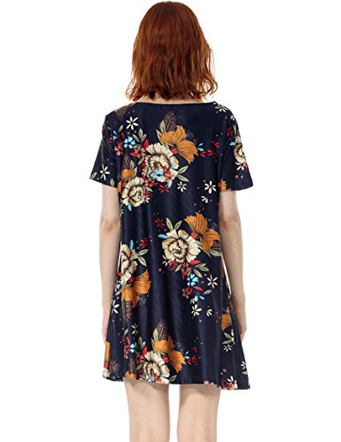 Daily Shift Dress Over Tunic Casual Wear Bluemuti Jersey OEUVRE Floral Pull Women's qpw1F1