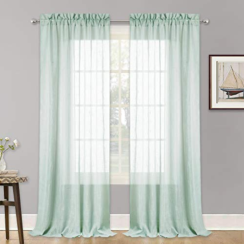 RYB HOME Farmhouse Window Curtains, Thick Fabric Sheer Panels Light Filter Drapery with Linen Like Pattern, Voile for Patio Door/French Door/Wall Decor, Aqua, 52 in x 95 in per Panel, One Pair