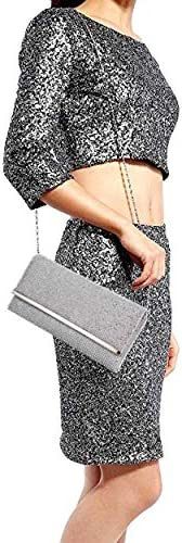 Selighting Womens Sparkly Crystal Diamante Evening Clutch Bag Bridal Prom Party Handbag Wedding Purse with Chains