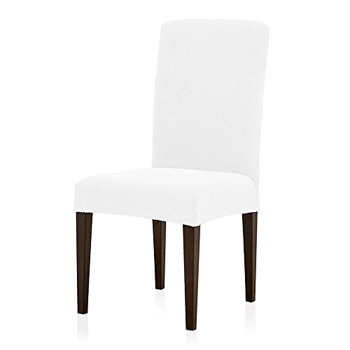 Subrtex Jacquard Dining Room Chair Slipcovers Sets, Stretch Chair Furniture Protector Covers, Removable Washable Elastic Parsons Chair Cover for Dining Room, Hotel, Ceremony (4 PIECES, White Jacquard) (Slipcovers For Dining Room Chairs With Rounded Backs)