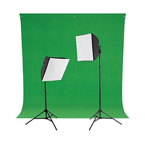 Westcott Green Screen Photo Lighting Kit, Includes 2x uLite Constant Light (500W), 2x uLite Collapsible Softbox, 2x Daylight LED Bulb with Tungsten Cover, Wrinkle-Resistant Backdrop Chroma Key (Photoflood Lighting Kit)