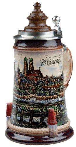 Beer Stein by King - Munich City Skyline with Wood Lid German Beer Stein (Beer Mug) 0.5l Limited by KING