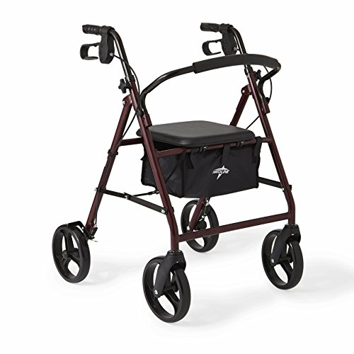 (Medline Standard Adult Steel Folding Rollator Walker Aid with 8 Inch Wheels, Red)