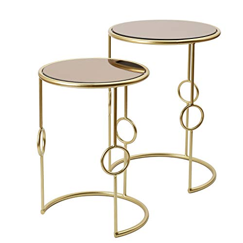 Adeco Decorative Nesting Round Side End Accent Table Plant Stand Chair for Bedroom, Living Room and Patio, Set of 2 For Sale