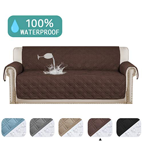 "100% Waterproof Sofa Protector for Leather Sofa Cover Brown Non-Slip Couch Covers for Dogs Pet Furniture Covers Machine Washable Protect from Pets Wear and Tear (Sofa, 75""x 112"") Brown"
