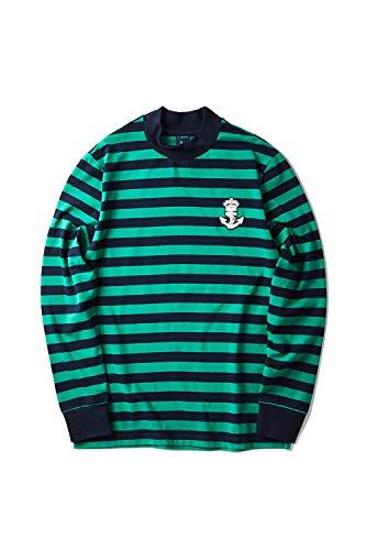 Zengjo Men's Casual Mock Turtleneck Long Sleeve Striped T-Shirt Cotton Spandex Slim Fit Pullover Stripe Tee (XL, Navy&Green Wide Stripe)