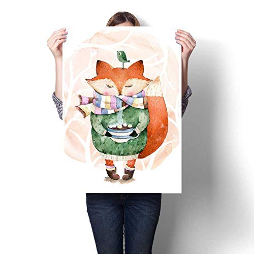 Anshesix Wall Paintings Cute Little Fox just Like to Drink hot Coffee Watercolor Illustration Modern Wall Art for Living Room Decoration 32