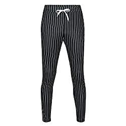 Men's Striped Patchwork Drawstring Joggers