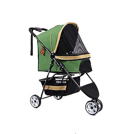 LOVEPET Cochecito para Mascotas Carrito Portátil para Gatos Triciclo para Gatos Y Perros Más Carro para Mascotas Coche con Un Solo Botón,Green: Amazon.es: ...