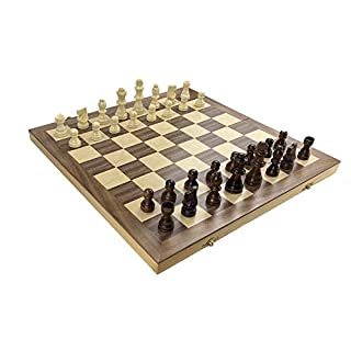 Hand Crafted Wooden Chess Set for Kids and Adults, Folding Travel Chess Board Game