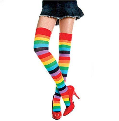 [SlenyuBridal Womens Girls Over Knee Leg Warmer Soft Colorful Knit Sock Leggings (Rainbow)] (Pippi Longstocking Costumes)
