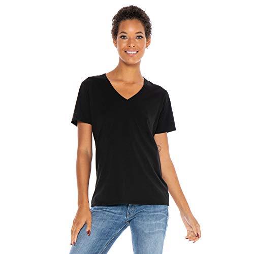 Women's Designer T-Shirt Lightweight Boyfriend Fit Short Sleeve V-Neck Organic Cotton Pre-Shrunk Embroidered Made in USA (Black, Medium) Black Organic Womens T-shirt