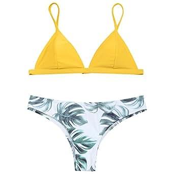 Amazon.com: ZAFUL Women's Padded Palm Leaf Bikini Set