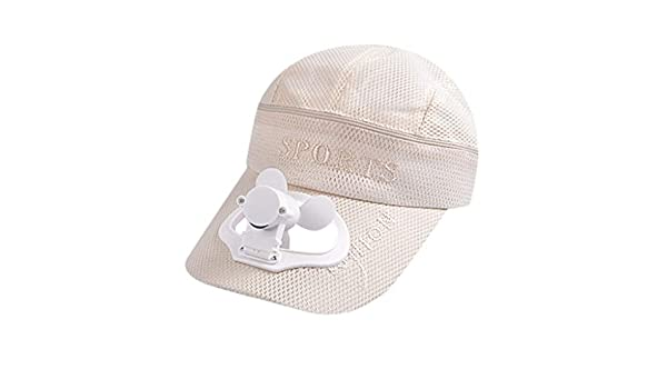 VECDY Sombrero Niña, 2019 Moda Sombrero Gorro De Pesca con Tapa De Ventilador De Carga USB Sombrero para El Sol Verano Gorra De Béisbol De Golf Transpirable Ajustable Al Aire Libre Pescar-Beige: