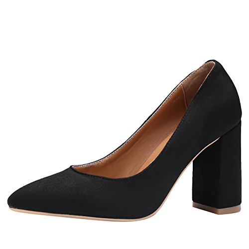 Latasa Womens Pointed-Toe Block High Heel Faux Suede Pumps Black OnNHvarw