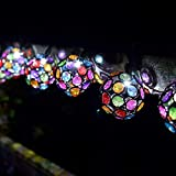 Yaoqiaoji Smart Solar String Lights 10 Multi Glow Gems White LED