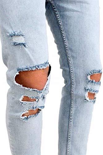 Rasgado Sólido Hombres Destroyed Casual Elástico Blau Jeans Jeans Transpirable Taped Elástico Moda Streetwear R Fit para Largos Pantalones Biker Skinny Slim Color Leisure qpCwOnfxt