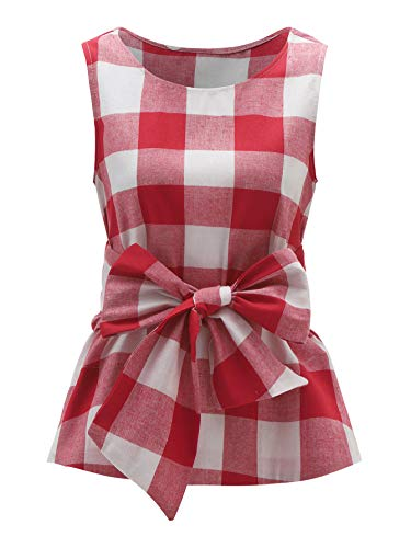 (WDIRARA Women's Sleeveless Belted Checkered Shell Top Blouse Red-1 M)