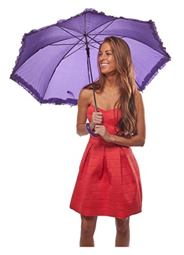 Ruffle Parasol Umbrella Full Size in Assorted Colors Simple Colors: (Pretty Parasol)